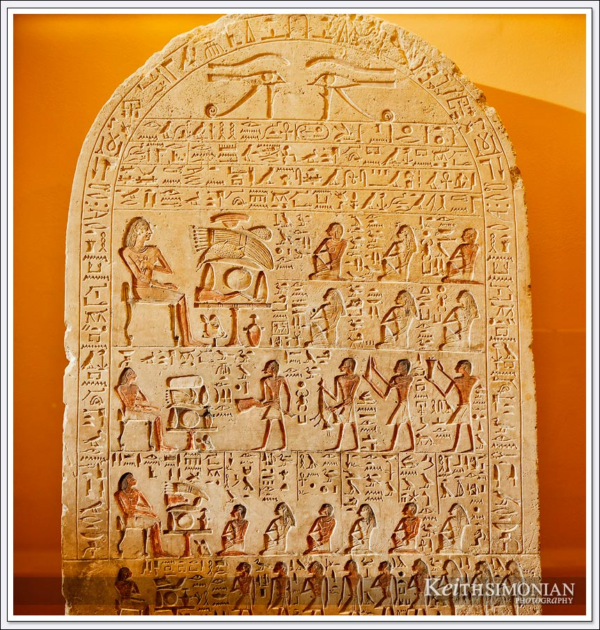 Stone tablet with Egyptian hieroglyphics in the Louvre Museum - Paris France