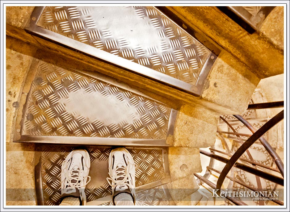The well worn stairs that take visitors to the top of the Arc de Triomphe - Paris France