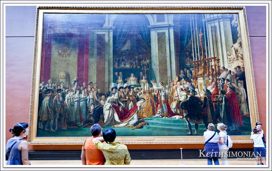 "One very big painting capturing the Coronation of Napoleon measures which measures 20' 4"" x 32'. in the Louvre - Paris France"