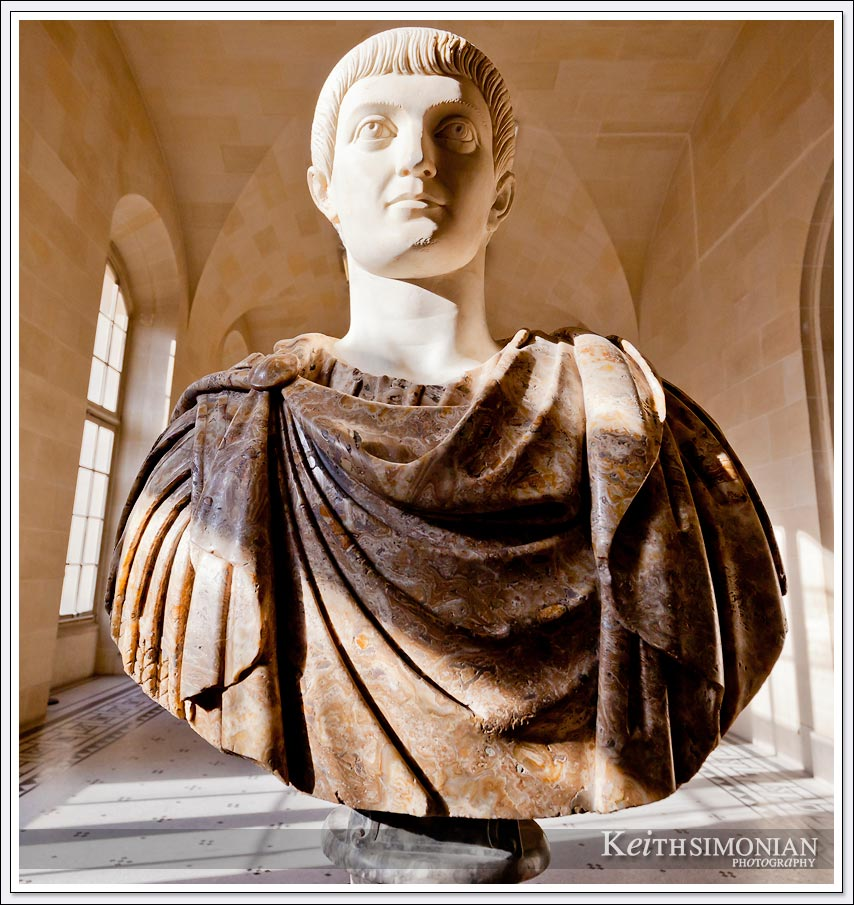 Bust of L'empereur Constant in the Louvre museum - Paris France