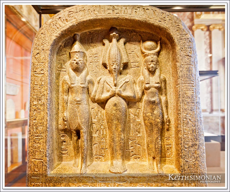 Egyptian stone carving in the Louvre Museum - Paris France