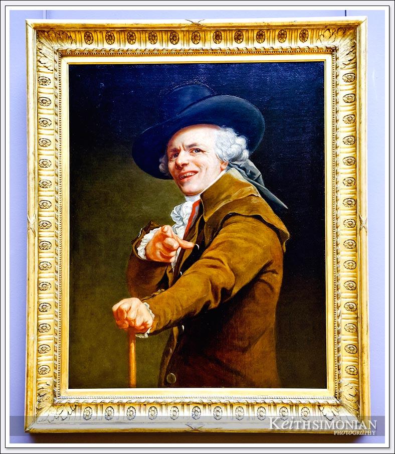 Painting by Joseph Ducreux - Portrait de l'artiste sous les traits d'un moqueur - Louvre Museum
