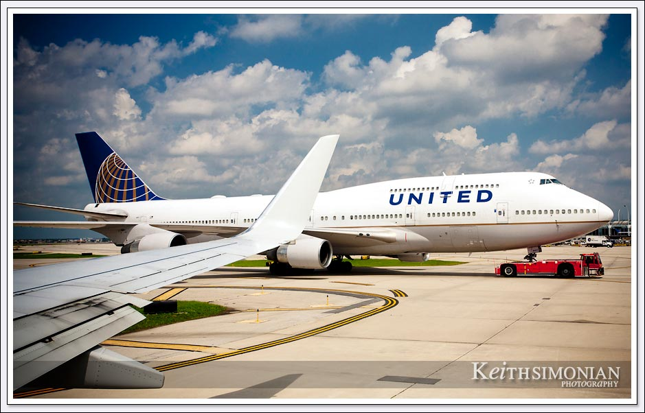 A United 747 on the tarmac at Chicago's O'hare airport