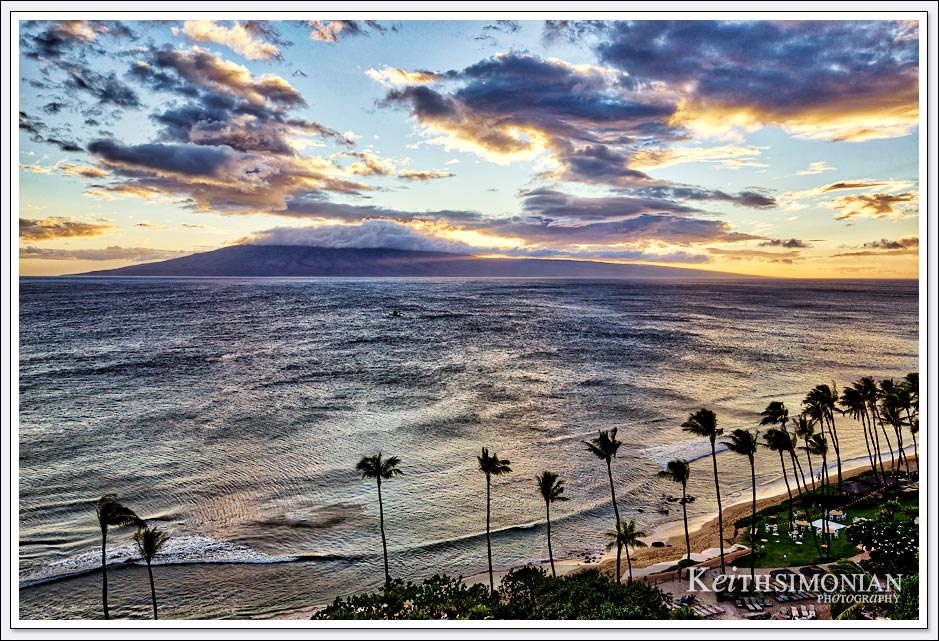 Sunset view from Maui Hyatt Regency of Lanai Island