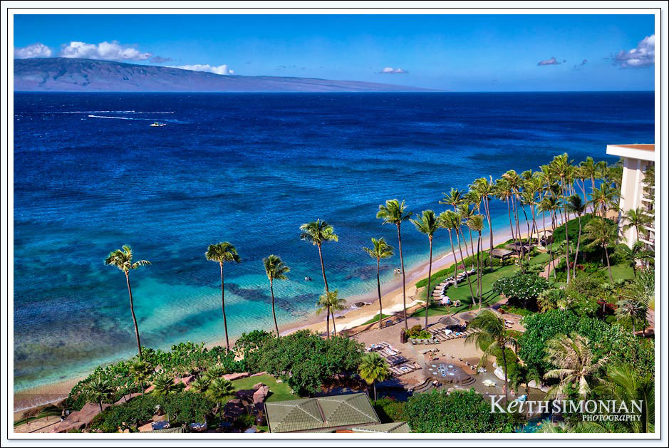 The island of Lanai is the backdrop for the beach in Maui Hawaii