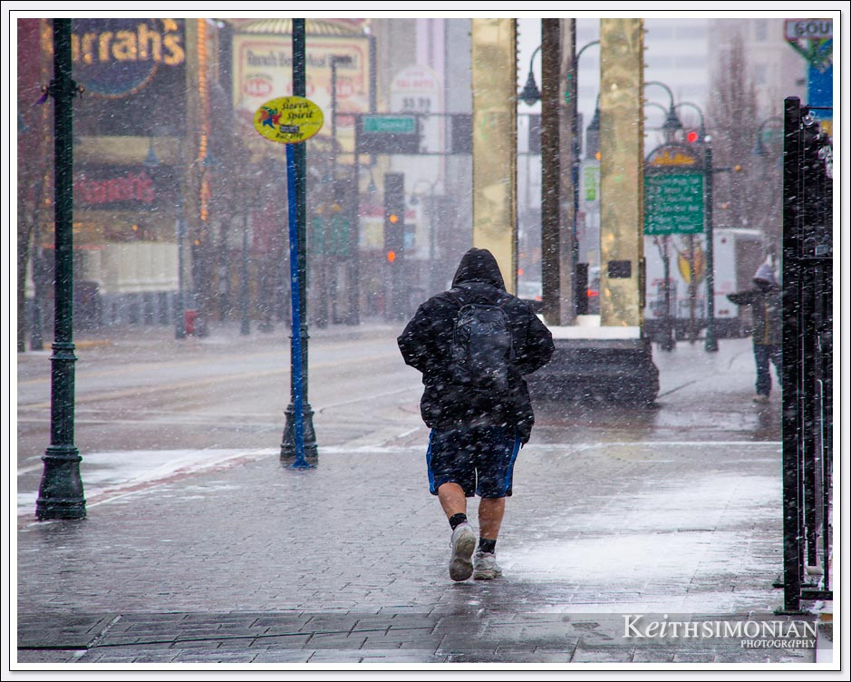 Snowfall in Reno Nevada with local wearing shorts and jacket.