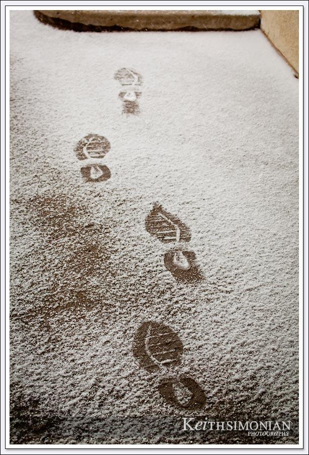Tennis shoe foot prints in fresh snow - Reno Nevada.