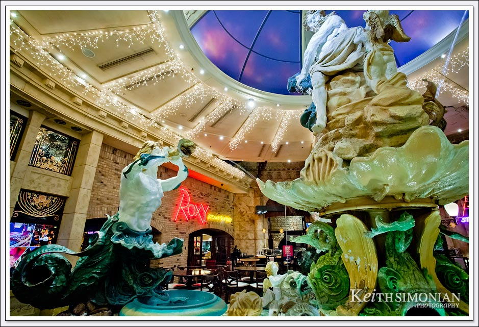 Water fountain between Eldorado and Silver Legacy hotels in Reno Nevada