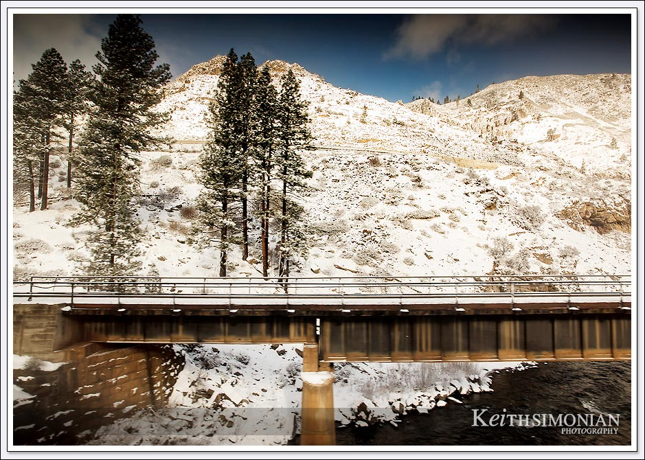 Train track bridge on Amtrak route over the Sierra Nevada mountains.