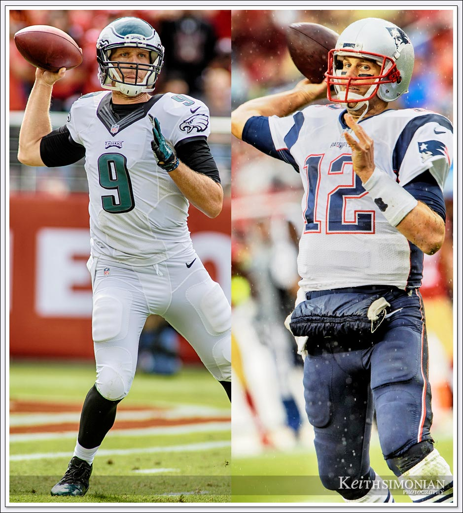 Super Bowl 52 starting quarterbacks Tom Brady of the New England Patriots and Nick Foles of the Philidephia Eagles