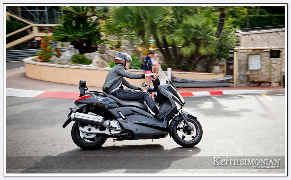 Motorcycle drives around the hairpin corner of the Monte Carlo Grand Prix