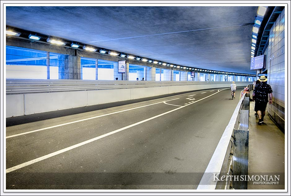 The famous tunnel the Formula 1 cars drive through during the Grand Prix of Monte Carlo.