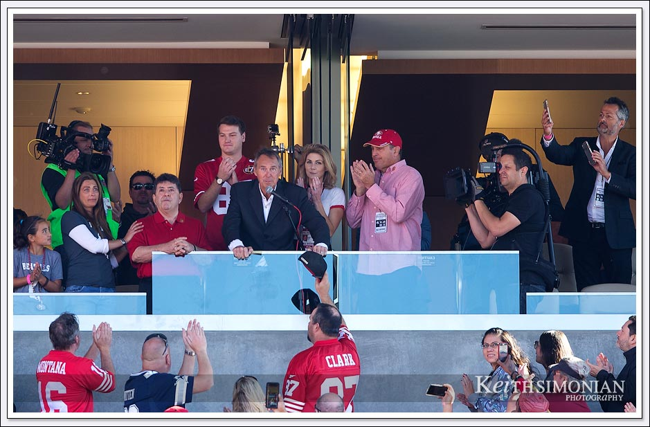 Dwight Clark speaks to the San Francisco 49ers fans on Dwight Clark day October 22, 2017 at Levi's stadium in Santa Clara, CA.