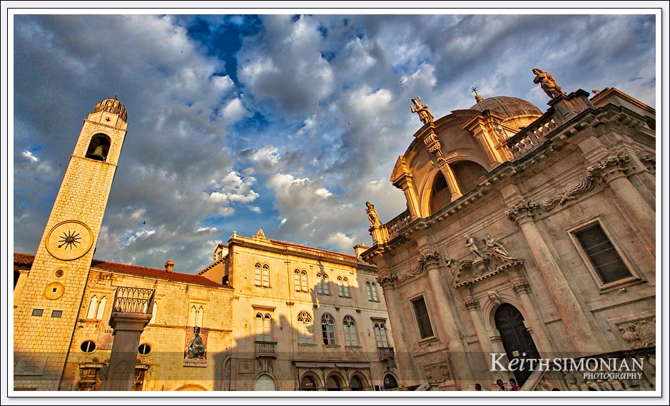 Clouds fill the sky during sunset in Dubrovnik Croatia
