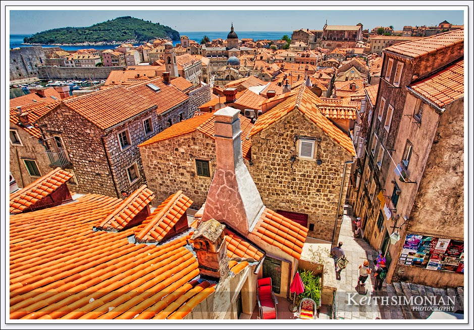 The old town of Dubrovnik Croatia features red roofs on most of the homes
