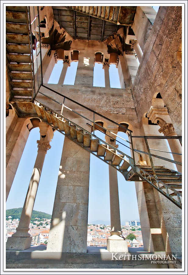 The metal staircase leads you to the top of the Bell tower -Split, Croatia
