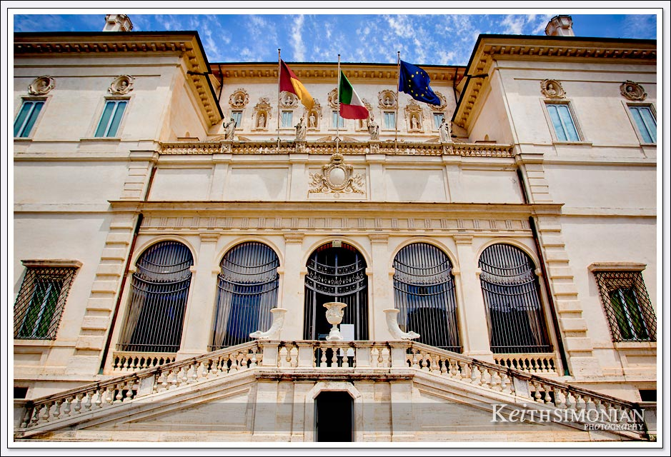 The main entrance of the Borghese gallery Rome, Italy