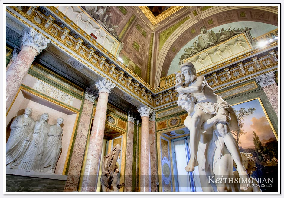 Bernini statue Aeneas, Anchises and Ascanius in the Borghese gallery - Rome Italy