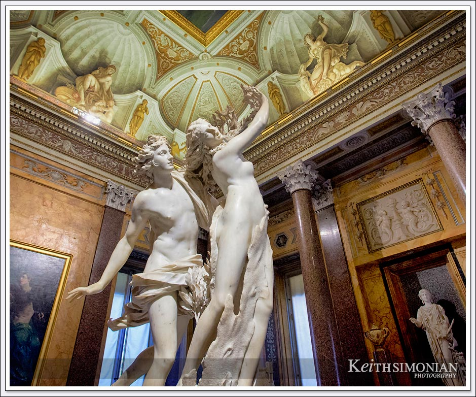 Bernini statue Apollo and Daphne in Borghese gallery - Rome Italy