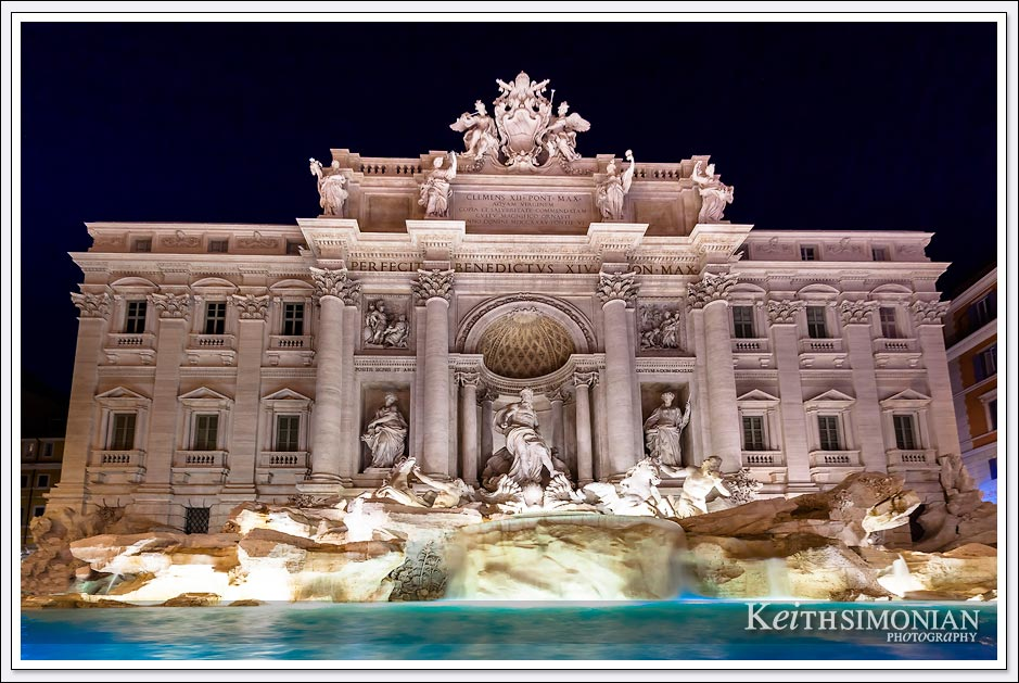 Night time view of the Trevi fountain in Rome Italy