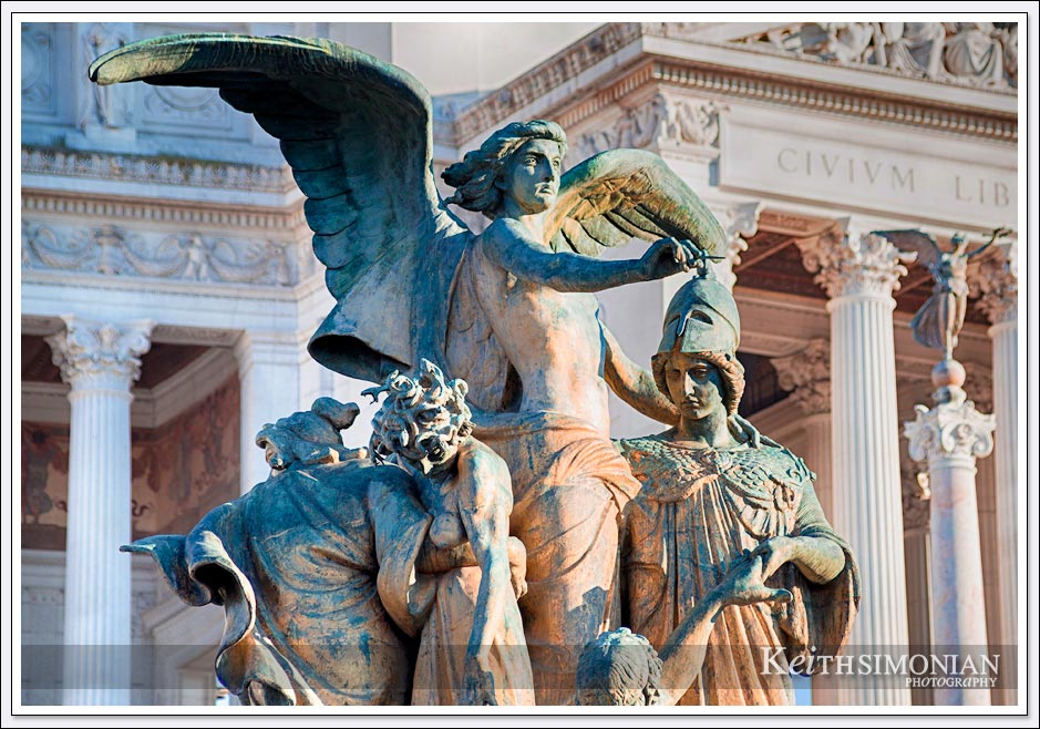 Bronze statue in front of Victor Emmanuel II Monument - Rome Italy
