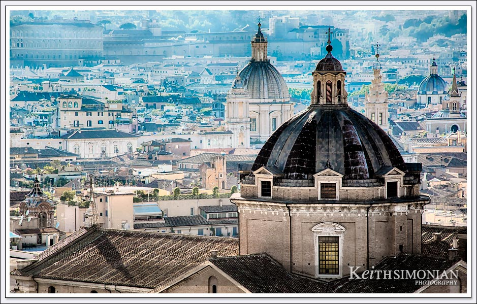 Beautiful domed building can be viewed from the top of the Victor Emmanuel II Monument, Rome Italy