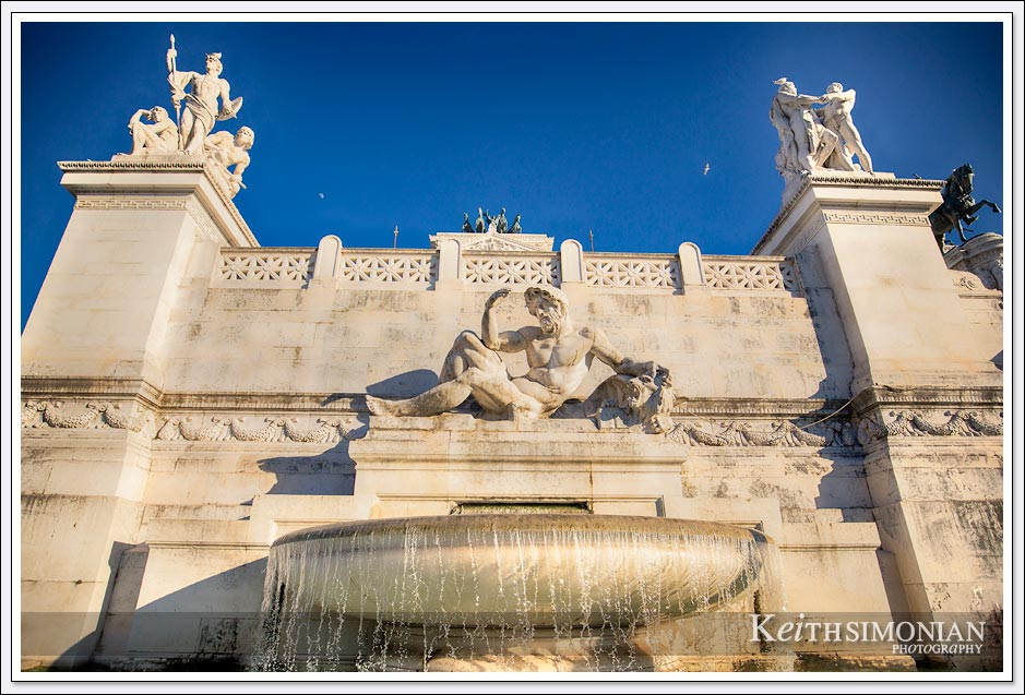 Water fountain at the Victor Emmanuel II Monument in Rome Italy