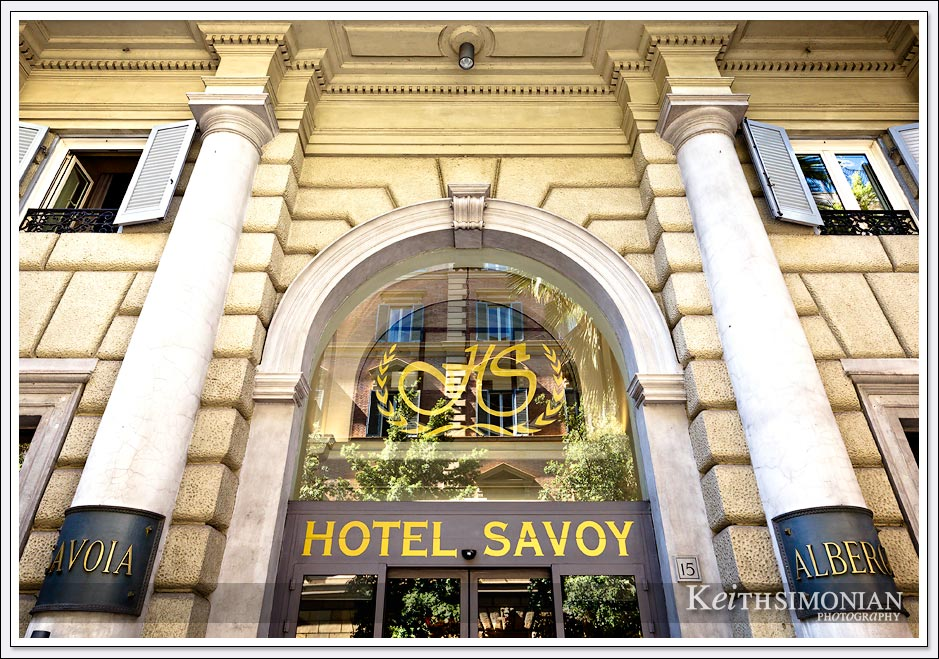 The Hotel Savoy in Rome Italy located just a few blocks from the American consulate.