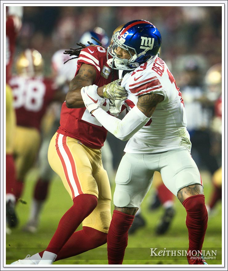 It's hard for Odell Beckham Jr. to get open when the defender grabs him by the shoulder pads - Levi's Stadium, Santa Clara, CA