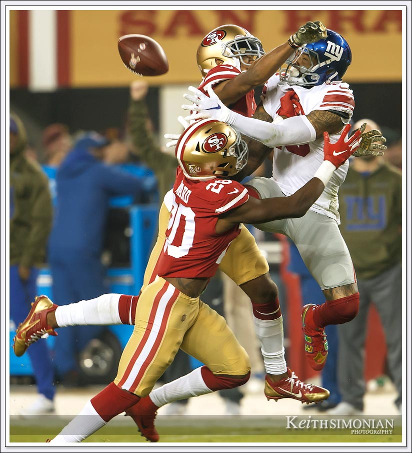 Not even Odell Beckham Jr. can make an amazing catch with two San Francisco 49ers in his face.