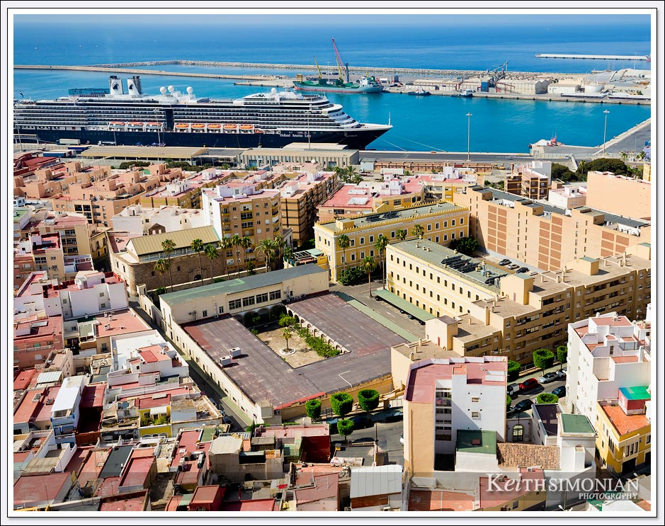 View of Alermia, Spain and Holland America cruise ship docked in port