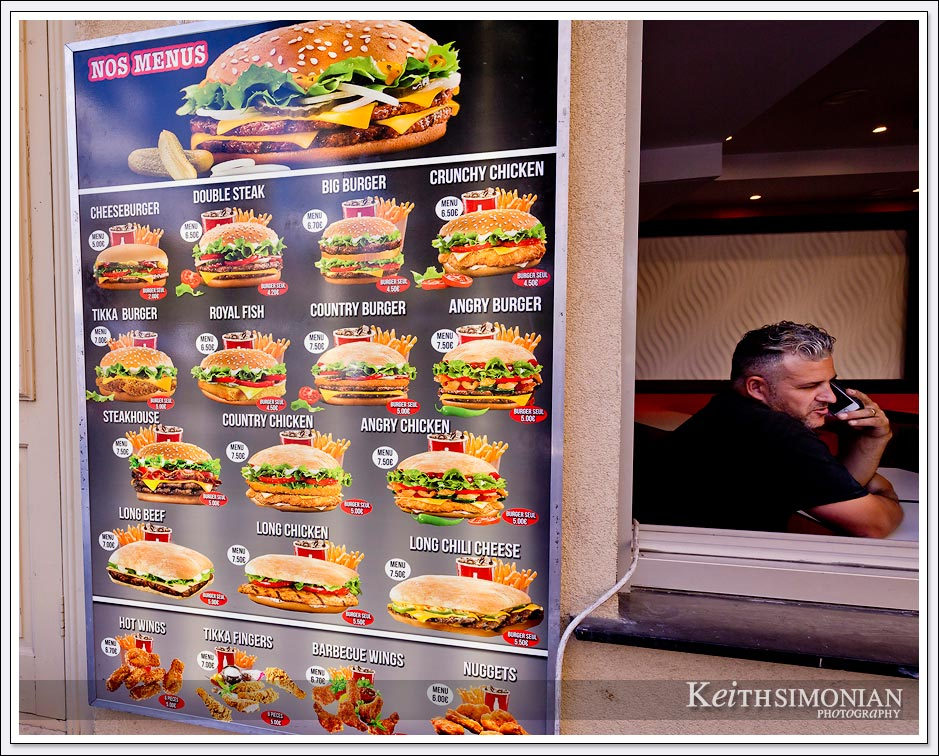 Nice France featuring the fine cuisine of the American burger joint, Burger King.