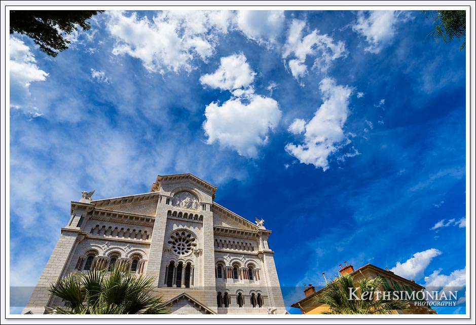 Saint Nicholas Cathedral in Monaco with clouds passing overhead.