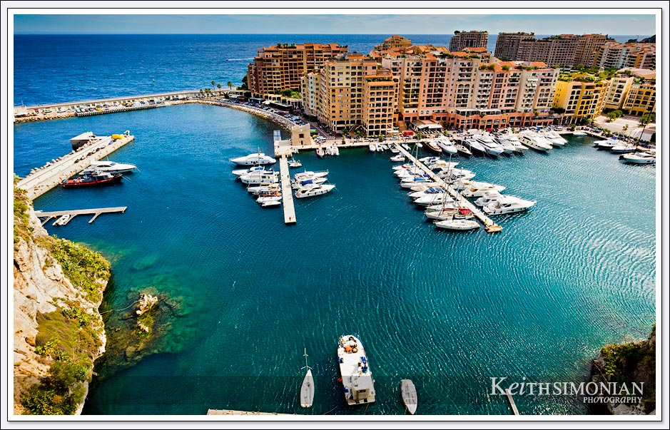Striking view from above Fontvieille Harbour in Monaco