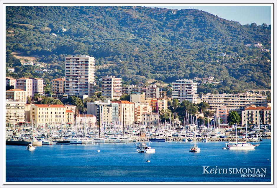 View of Ajaccio, France from aboard the Holland America cruise ship Westerdam.