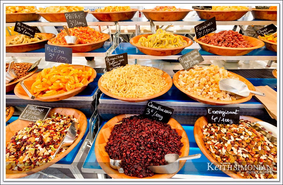 This market in Ajaccio, France offered many different fruits and spices.