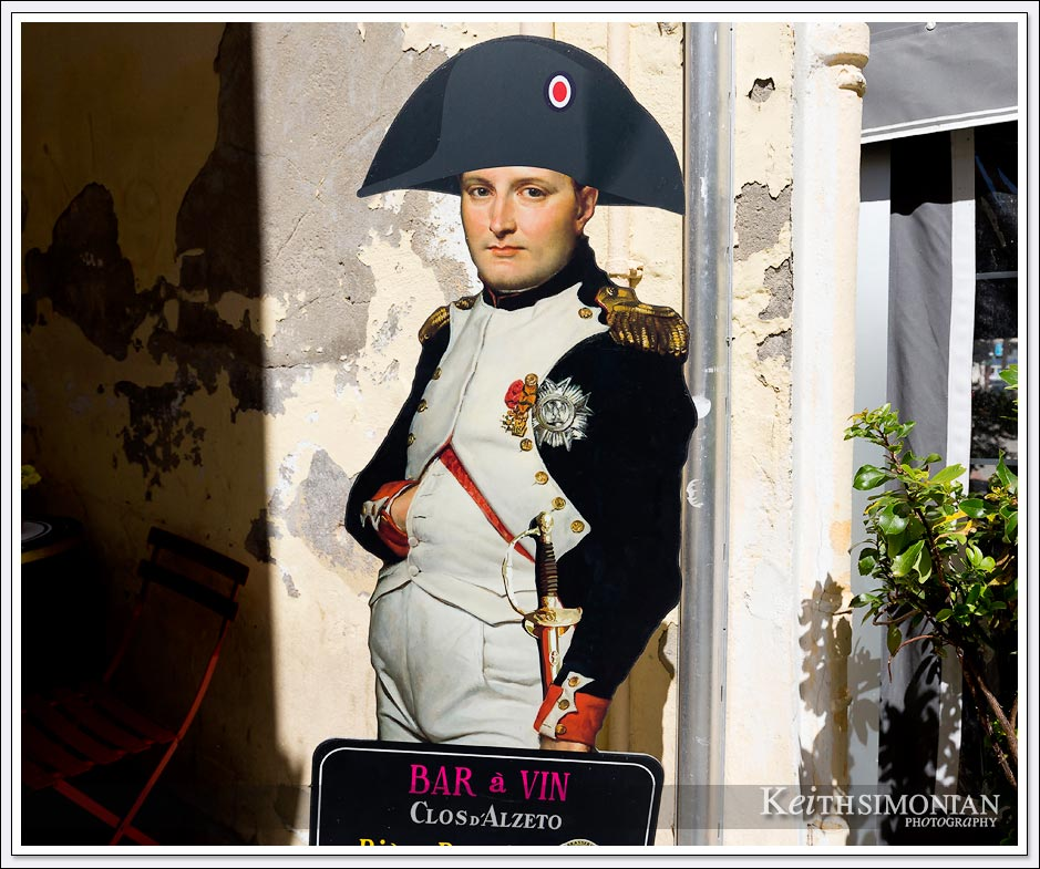 Cafe in Ajaccio, France next to Napoleon's home with life size cutout of the Emperor.