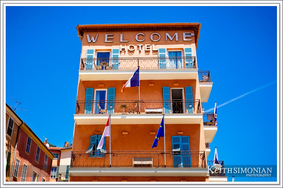 The brightly colored Welcome Hotel in Villefranche, France
