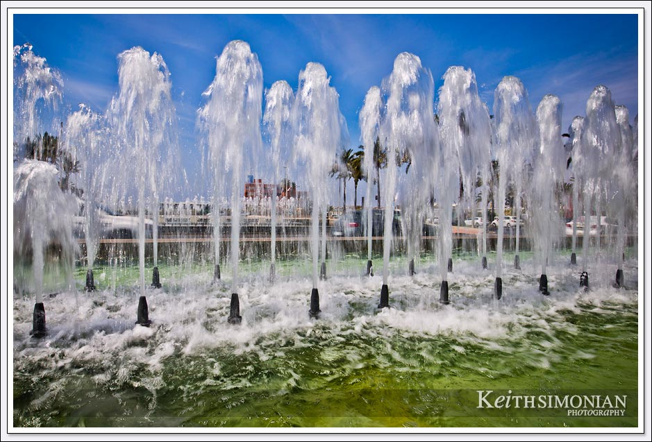 Water fountains along the boulevard in Almeria Spain