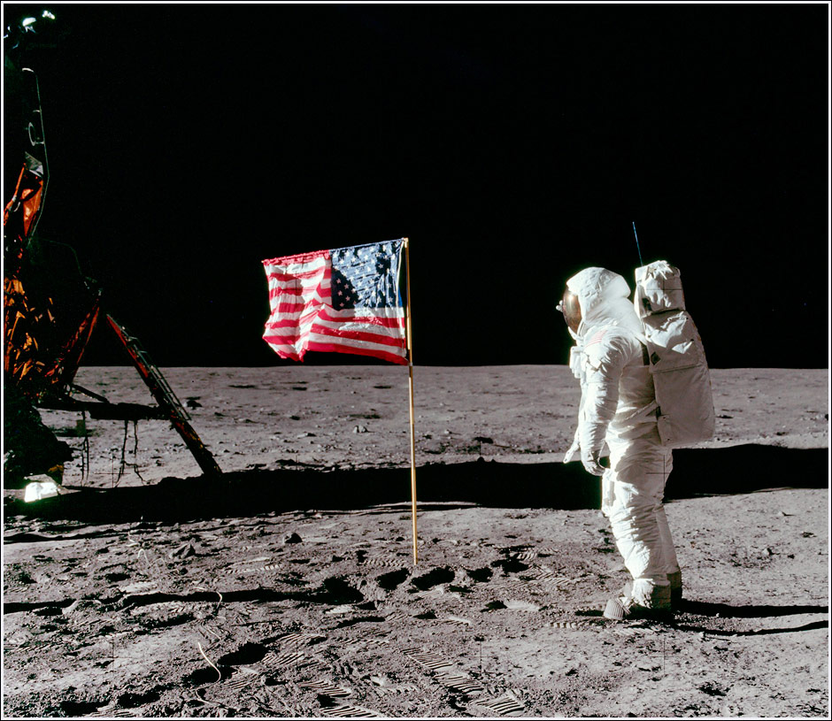 Buzz Aldrin salutes the American Flag on the Lunar surface - Photo by Neil Armstong