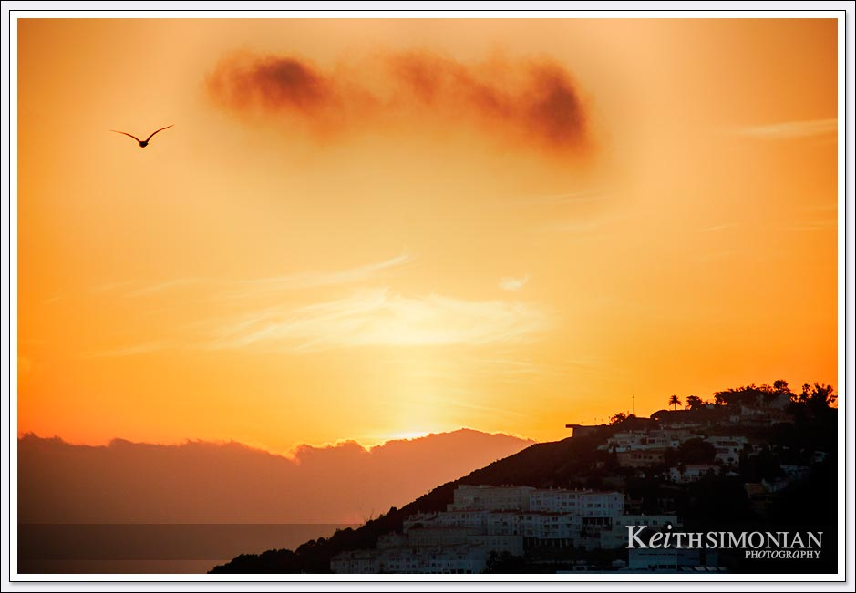 Orange yellow sunrise of Ceuta Spain
