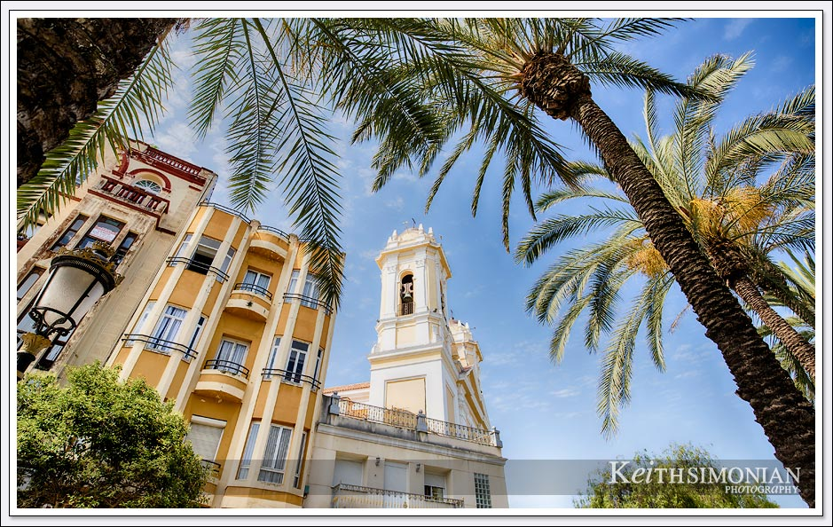 Church seen through palm trees in Ceuta Spaon