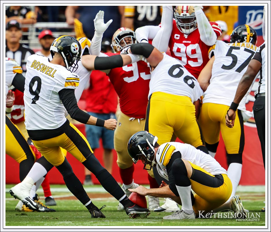 Pittsburgh Steeler kicker #9 Chris Boswell puts his foot into a field goal attempt against the San Francisco 49ers on September 22, 2019 at Levi's stadium.