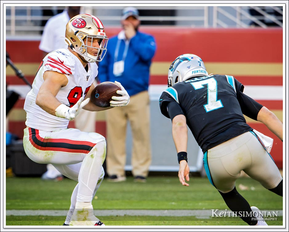 San Francisco 49er Nick Bosa runs back interception against Carolina Panthers - October 27th, 2019 at Levi's Stadium in Santa Clara, CA