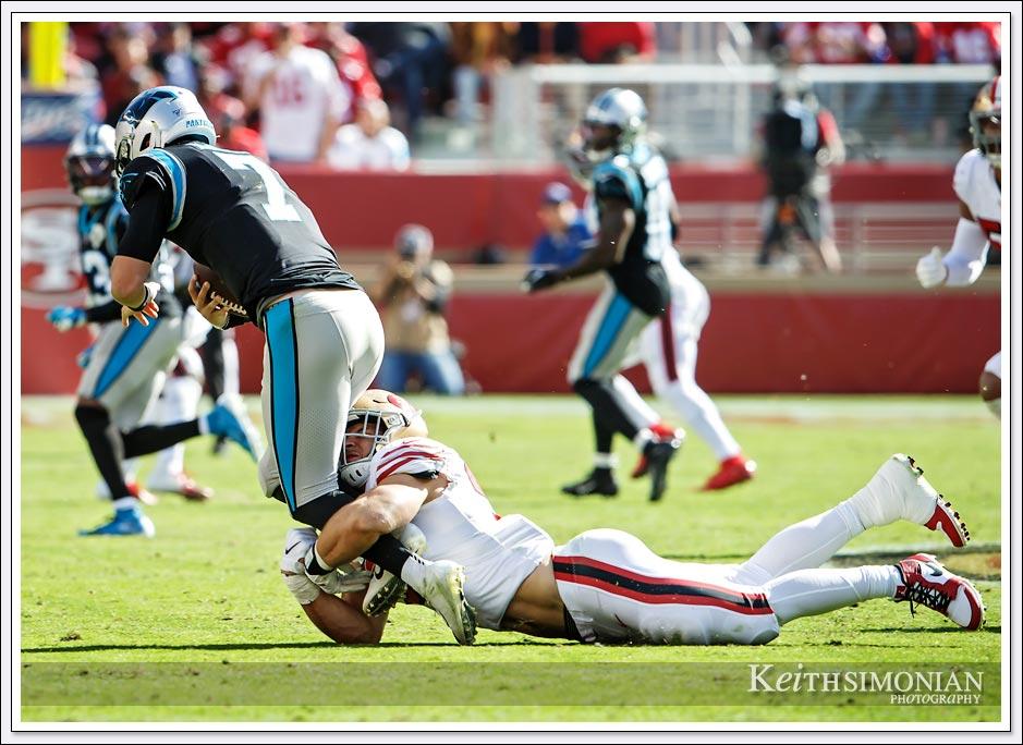 One of San Francisco 49er Nick Bosa's three sacks on the day against the Carolina Panthers at Levi Stadium in Santa Clara, California