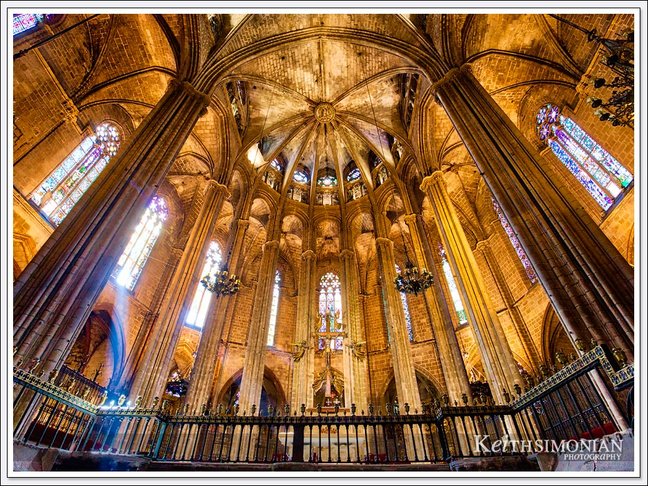 Stained glass windows in the Cathedral of Barcelona