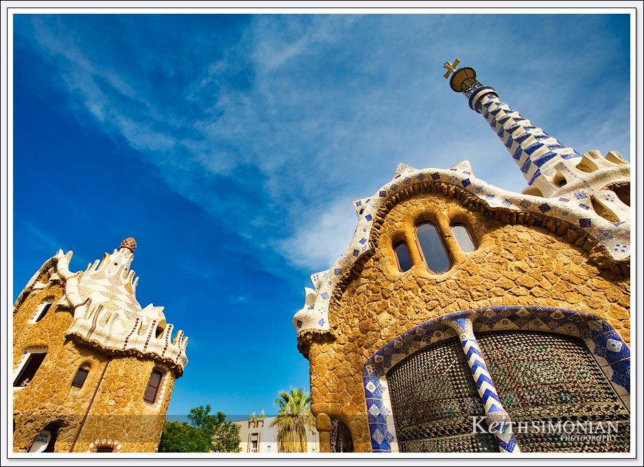 Parc Guëll entrance buildings - Barcelona Spain