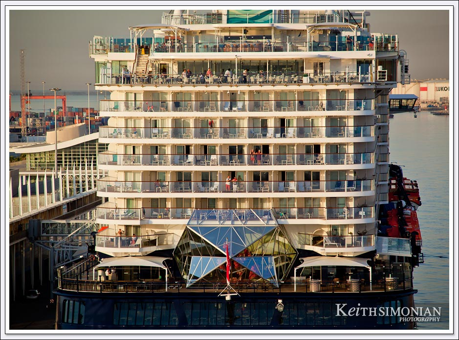 Cruise ship docked behind us Barcelona, Spain