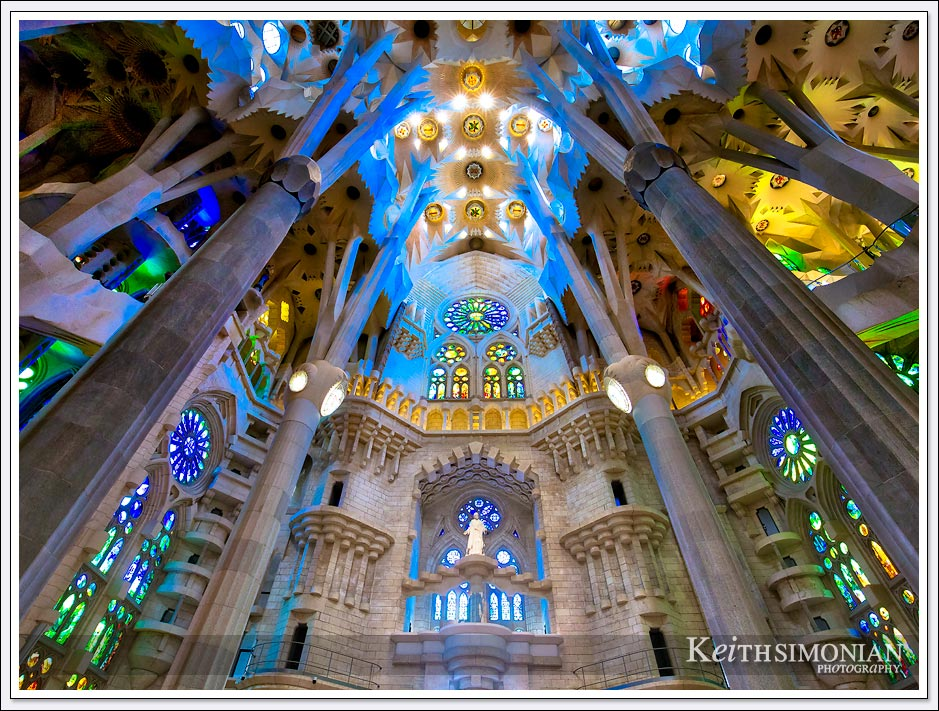 Interior top view of La Sagrada Familia - Barcelona, Spain
