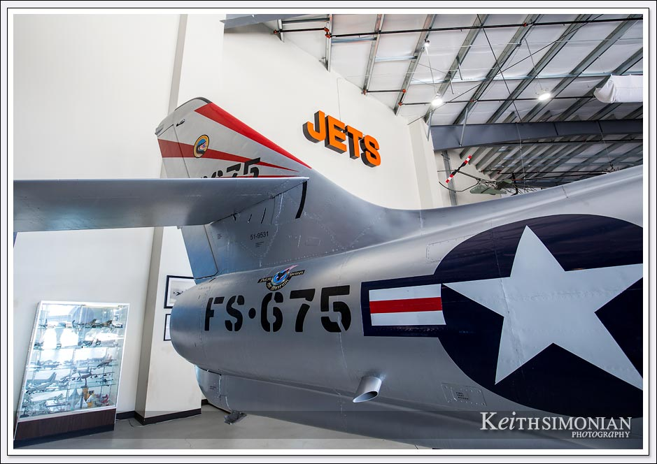 The F-84 Thunderstreak Static sits in the jets hanger of the Palm Springs Air Museum.